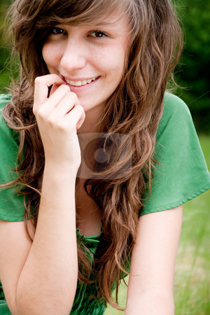 Sweet young green girl stock photo, Young fashionable girl in a happy mood by Frenk and Danielle Kaufmann