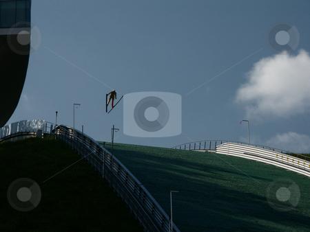 Ski jump stock photo, Trainingsspringen auf Berg Isel Schisprungschaze / Training Jumping on Berg Isel by Thomas K?