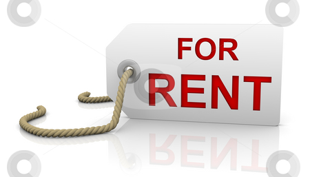 For rent tag in right position stock photo, For rent tag with white background and red letters in right position by Nuno Andre