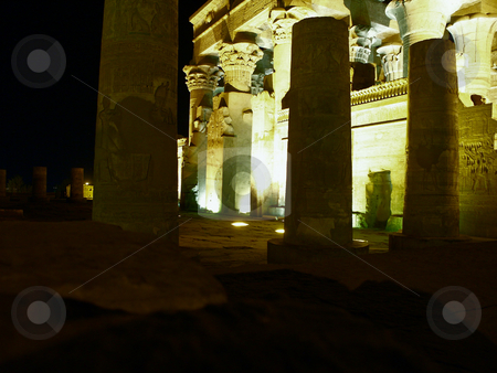 Edfu stock photo, Tempel bei n???chtlicher Beleuchtung / Temple in nocturnal lighting by Thomas K?