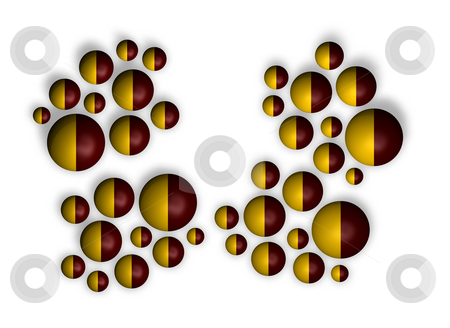 Red and yellow stock photo, Background abstract with balls in red and yellow - 3d illustration by J?