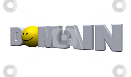 Domain stock photo, The word domain and a smiley - 3d illustration by J?