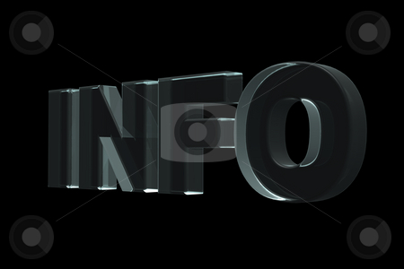 Info stock photo, The word info in glass on black background - 3d illustration by J?