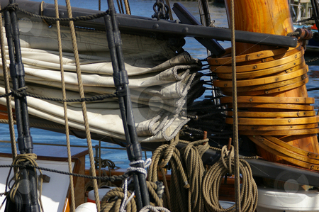 Lowered Mizzen Sail stock photo, A mizzen sail lowered down the mast. by Tom Weatherhead