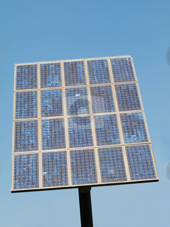 Solar panel stock photo, Solar panel under pure blue sky by Laurent Dambies