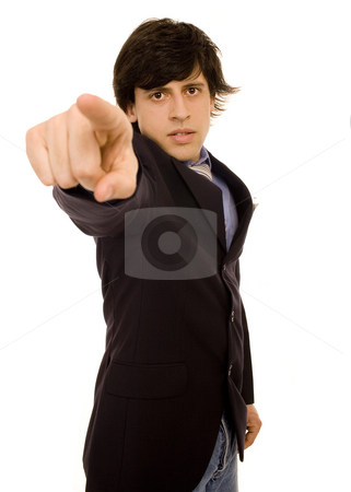 Serious man stock photo, Man with finger expression white isolate portrait by Marc Torrell