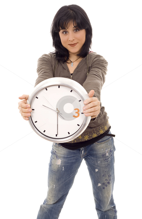 Woman clock stock photo, Casual woman with a clock by Marc Torrell