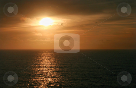 Sunset stock photo, Sunset over sea on a athlantic beach by Marc Torrell