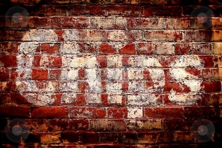 Chips Brick Wall stock photo, Red brick wall with the writing Chips on it. by Henrik Lehnerer