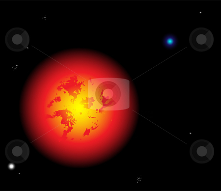 Sun in space stock vector clipart, Beautiful sun vector with planets and stars by Augusto Cabral Graphiste Rennes