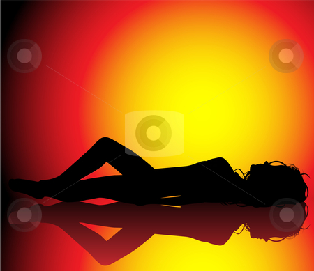 Girl Sun Bath stock vector clipart, Silhouette of girl sunbathin on beautiful hot background by Augusto Cabral Graphiste Rennes