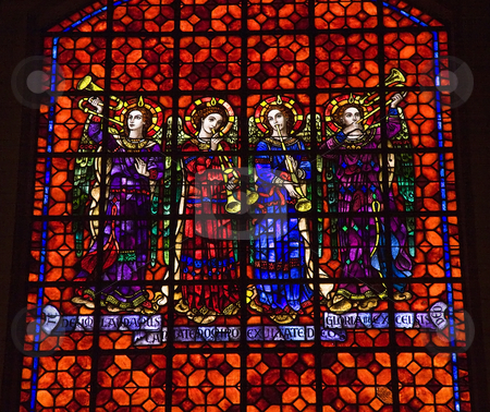 Colorful Angels with Musical Instruments Stained Glass Mission D stock photo, Colorful Angels with Musical Instrucments Stained Glass Mission Dolores Saint Francis De Assis San Francisco California