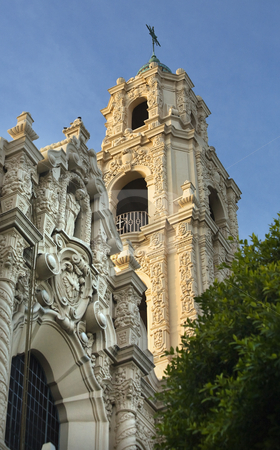 Front Ornate Steeple Mission Dolores San Francisco California stock photo, Front Ornate Carvings Facade Steeple Cross Mission Dolores Saint Francis De Assis San Francisco California