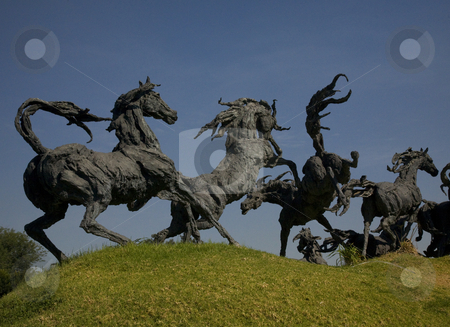 Wild Horses Statues Guadalajara Mexico stock photo, Wild Horse Statues, Major Intersection, Guadalajara< Mexico by William Perry