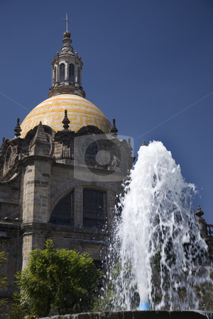 Guadalajara/Metropolitan Cathedral Mexico stock photo, Metropolitan Cathedral, Templo de Santa Maria de Gracia, Fountain, Guadalajara, Mexico by William Perry