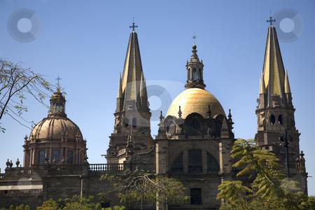 Guadalajara Cathedral Overview Two Domes Two Spires stock photo, Metropolitan Cathedral, Temple de Santa Maria de Gracias, Guadalajara, Mexico  Overview with two domes and two spires by William Perry