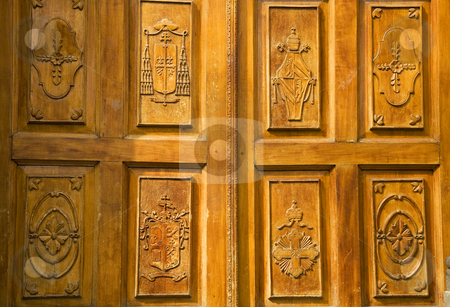 Golden Wood Church Door Mexico stock photo, Golden Brown Wooden Church Door with Religious symbols, Tlaquepaque Guagalajara Mexico by William Perry