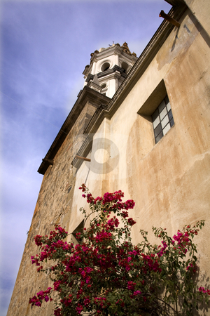 White Stone Church Red Bouganvillea Mexico stock photo, White Stone Church Red Bouganvillea, Tlaquepaque, Guadalajara, Mexico by William Perry