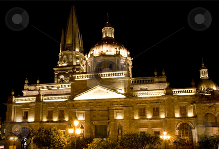 Cathedral of Guadalajara Mexico at Night stock photo, Cathedral of Guadalajara Mexico at Night by William Perry