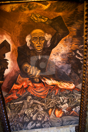 Hidalgo Mural Orozco Government Palace Guadalajara Mexico stock photo, Mural of Miguel Hidgalgo Costilla, leader of Mexican Independence, Walking up stairs in Government Palace, Guadalajara, Mexico.  Mural by Jose Clemente Orozco and finished in 1939 or early 1940s.  Orozco died in 1949. by William Perry