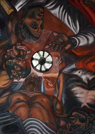 Orozco Mural University of Guadalajara Mexico stock photo, Mural by Jose Clemente Orozco University of Guadalajara in the dome of classroom, Mexico. Orozco is one of the most famous artists in Mexico and died in 1939. by William Perry