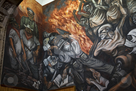 Mural University of Guadalajara, Mexico stock photo, Mural by Jose Clemente Orozco in the University of Guadalajara, Mexico.  Orozco died in 1939.Workers and Peasants attacking corrupt military leaders and their police by William Perry