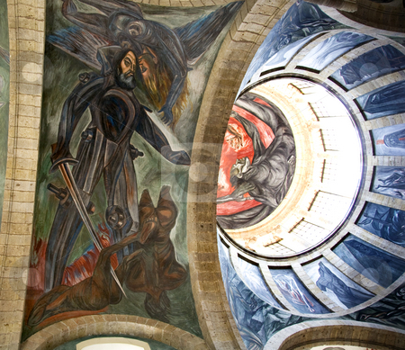 Orozco Mural and Dome stock photo, Mural by Clemente Orozco in Cabanas Cultural Institute, Guadalajara, Mexico.  Mural of Hernando Cortez.  Orozco did this mural in the late 1930s and died in 1949. by William Perry