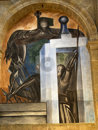 Orozco Mural Knight Cabanas Cultural Institute stock photo, Orozco Mural of Knight, Cabanas Cultural Institute, Guadalajara, Mexico.Clemente Orozco painted this mural in the late 1930s and died in 1949. by William Perry