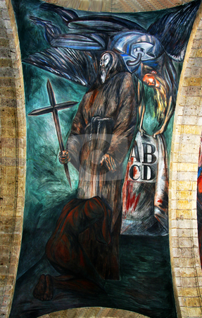 Orozco Mural on the Inquisition Cabanas Cultural Institute stock photo, Mural by Clemente Orozco, Cabanas Cultural Institute, Guadalajara, Mexico.  This part of the mural is about the inquisition.  Orozco painted the mural in the late 1930s and died in 1949. by William Perry
