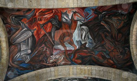 Orozco Spanish Conquest Mexico Cabanas Cultural Institute stock photo, Mural by Clemente Orozco of Spanish Invasion, ceiling, Cabanas Cultural Institute, Guadalajara, Mexico.  Orozco painted this mural in the late 1930s and died in 1949. by William Perry