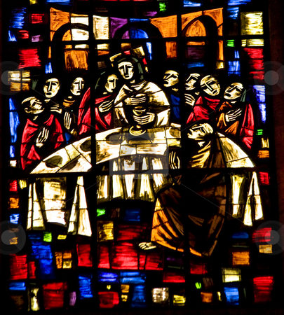 Last Supper Stained Glass Temple of Atonement Mexico stock photo, Last Supper Stained Glass, Temple of Atonement, Templo Expiatorio, Guadalajara, Mexico.  Artist finished stained glass in the 1970s, died and is buried at the Temple of Atonement by William Perry