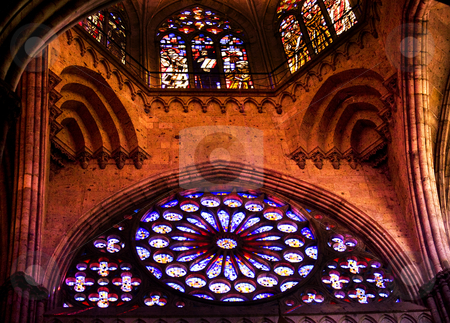 Ceiling and Stained Glass Windows Temple of Atonement Mexico stock photo, Ceiling and Stained Glass Windows, Temple of Atonement, Templo Expiatorio, Guadalajara, Mexico by William Perry