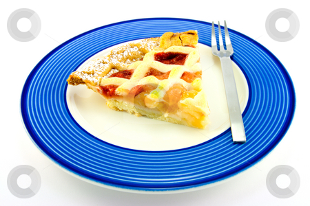 Slice of Apple and Strawberry Pie with a Fork stock photo, Slice of apple and strawberry pie on a blue plate with a small fork on a white background by Keith Wilson