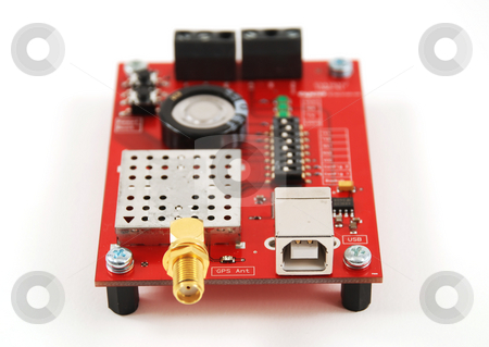 Electronic boards stock photo, Stock pictures of an electronics board with a radiofrequency connector by Albert Lozano