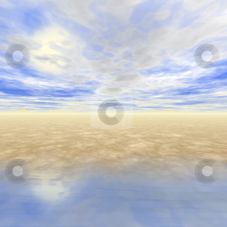 3D Seascape stock photo, 3D generated seascape with fluffy  clouds and sun. by Todd Arena
