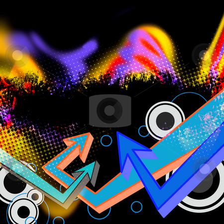 Funky Arrows Layout stock photo, A funky multicolored grunge layout with grafitti arrows and haltone effects. by Todd Arena