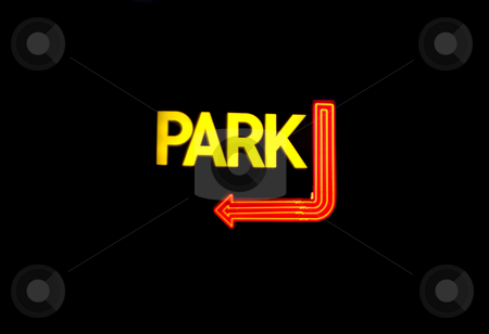 Neon Parking Sign stock photo, A neon parking sign isolated over black. by Todd Arena