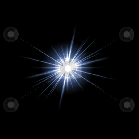 Lens Flare Star Burst stock photo, A bright solar flare over a black background. by Todd Arena