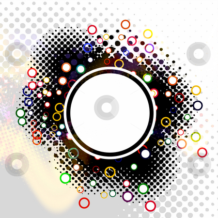 Circlular Layout stock photo, An abstract circular layout with colorful rings and halftone effects. by Todd Arena