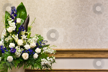 Beautiful Floral Arrangement stock photo, A beautiful white roses floral arrangement with copyspace. by Todd Arena
