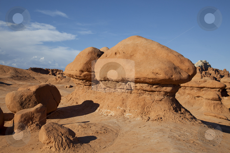 Goblin Valley stock photo, View of red rock formations in San Rafael Swell with blue sky by Mark Smith