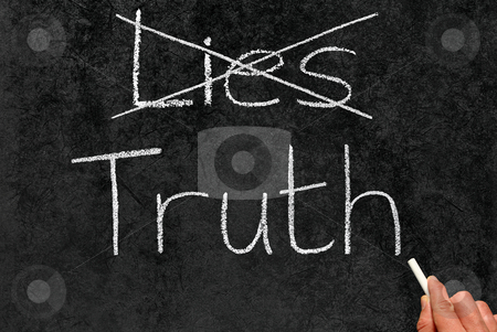 Crossing out Lies and writing Truth on a blackboard. stock photo, Crossing out Lies and writing Truth on a blackboard. by Stephen Rees