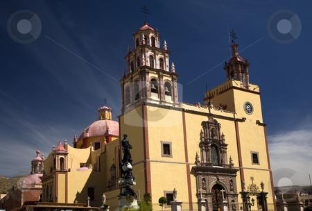 Basilica Guanajuato Mexico stock photo, Basilica of our Lady of Guanajuato, La Basilica de nuestra Senora de Guanajuato, Steeples Blue Skies and Mexico by William Perry