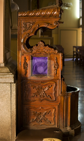 Confessional Chair Basilica Guanajuato Mexico stock photo, Dark Brown Wooden Confessional Chair Catholic Church, Basilica of our Lady of Guanajuato, Basilica De Nuestra Senora Guanajuato, Mexico by William Perry