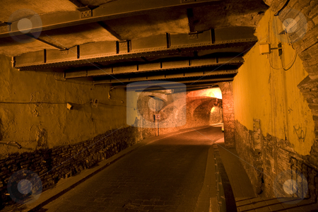 Guanajuato Traffic Tunnel At Night Mexico stock photo, Guanajuato Mexico has many underground tunnels beneath the city for car traffic etc.  This city was originally a silver mine location and these are the tunnels for the mine.  Now used for car, bus and pedestrian traffic. by William Perry