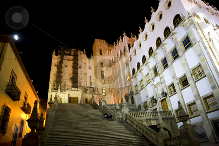 University of Guanajuato Steps Mexico at Night  stock photo, University of Guanajuato, Mexico, Steps with students at night by William Perry
