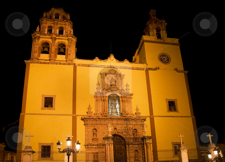 Basilica Guanajuato Mexico at night stock photo, Basilica Coelgiata de Nuestra, Guanajuato, Mexico.  Yellow Catholic Church at Night by William Perry