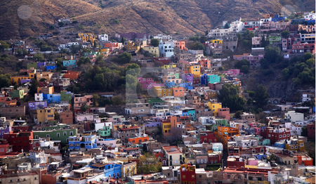 Many Colored Houses Guanajuato Mexico stock photo, Many Colored Houses of Guanajuato Mexico taken from Le Pipila Hill Overlooking Guanajauto, No Trademarks by William Perry