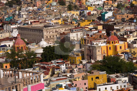 Colored houses, churches Fort, Guanajuato Mexico stock photo, Colored Houses, Churches and Granary, Aihondiga de Granaditas, Guanajuato, Mexico.  The Granary was the site of the one of the major battles in the Mexican War of Independence.  No Trademarks by William Perry