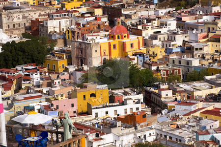Balcony Colored Houses and Church Guanajuato Mexico stock photo, Balcony Overlooking Multi-Colored Houses and Churches, Guanajuato, Mexico  No Trademarks. by William Perry